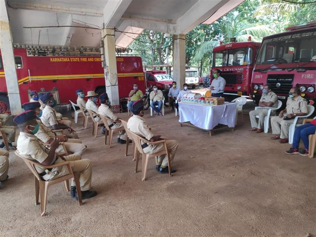 Distribution of Sanitizer to Firefighters